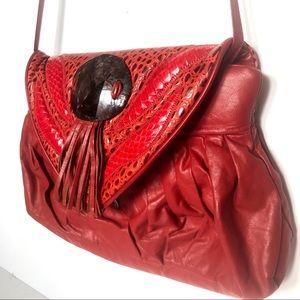 Vintage Red Crocodile Bag, Red Leather Fringe